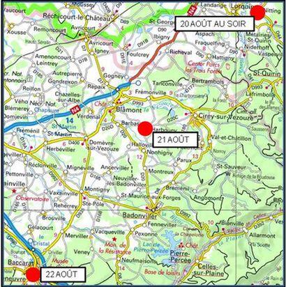 Les reculs du 20 au 22 août de l'armée française