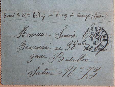 Enveloppe de courrier militaire en 1916