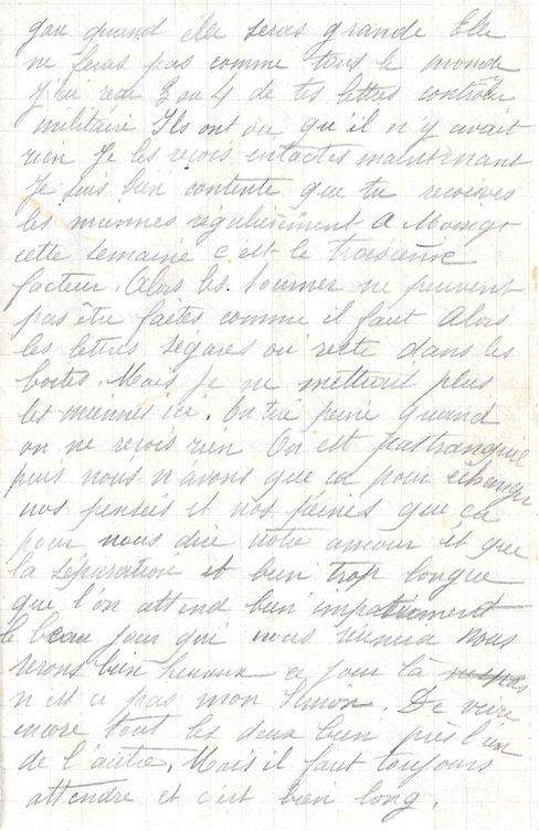 J'ai reçu 3 ou 4  de tes lettres contrôlées militaire.