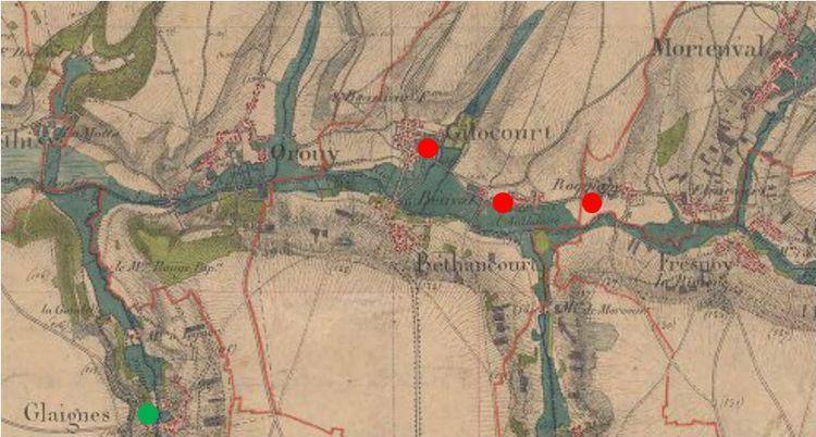 Stationnement des troupes du 38ème en mars avril 1916