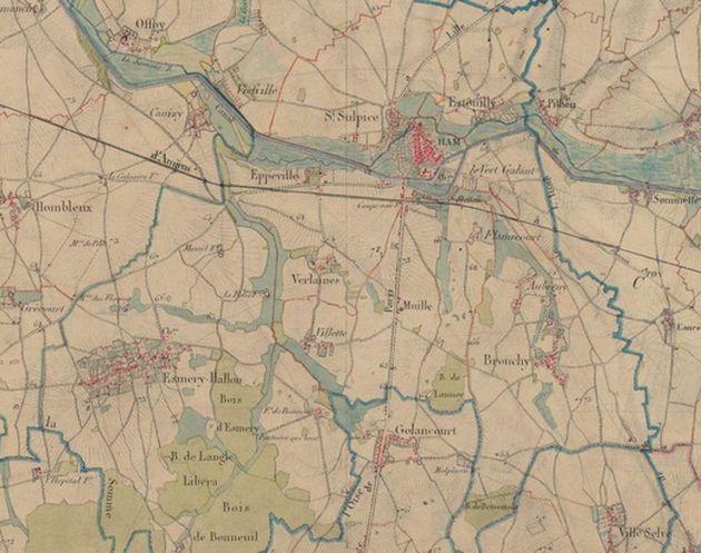 On voit bien les 3 communes où stationne le régiment de Simon