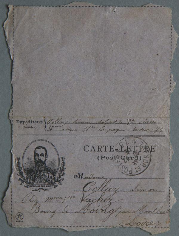 Postal card, support anglais