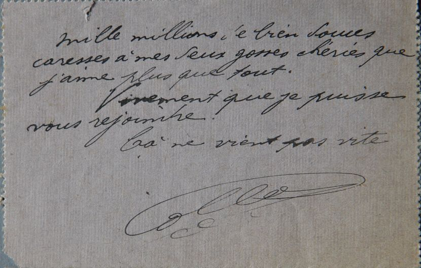 Verso du courrier du 22/07/1918